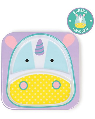 Skip Hop Zoo Little Kid Plate in Melamine, Unicorn - Divided in two Sections! Bowls & Plates