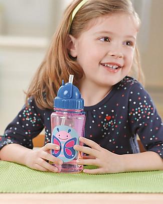 Skip Hop Zoo Straw Bottle for Kids, Butterfly - Flip-top Lid! BPA-Free Bottles