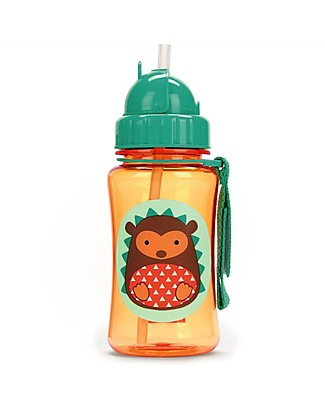 Skip Hop Zoo Straw Bottle for Kids, Hedgehog - Flip-top Lid! BPA-Free Bottles