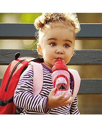 Skip Hop Zoo Straw Bottle for Kids, Ladybug - Flip-top Lid! BPA-Free Bottles