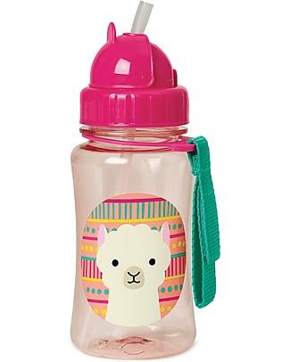 Skip Hop Zoo Straw Bottle for Kids, Llama - Flip-top Lid! BPA-Free Bottles