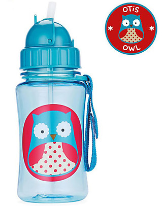 Skip Hop Zoo Straw Bottle for Kids, Owl - Flip-top Lid! BPA-Free Bottles