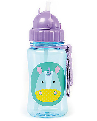 Skip Hop Zoo Straw Bottle for Kids, Unicorn - Flip-top Lid! BPA-Free Bottles