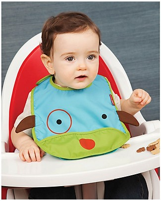 Skip Hop Zoo Tuck-Away Bib with Pocket, Dog - Water-resistant, easy to store when dirty! Waterproof Bibs