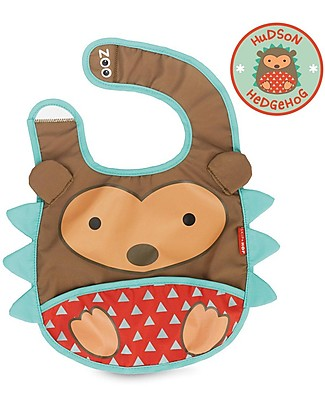 Skip Hop Zoo Tuck-Away Bib with Pocket, Hedgehog - Water-resistant, easy to store when dirty! Waterproof Bibs