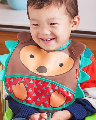 Skip Hop Zoo Tuck-Away Bib with Pocket, Hedgehog - Water-resistant, easy to store when dirty! Waterproof Bibs