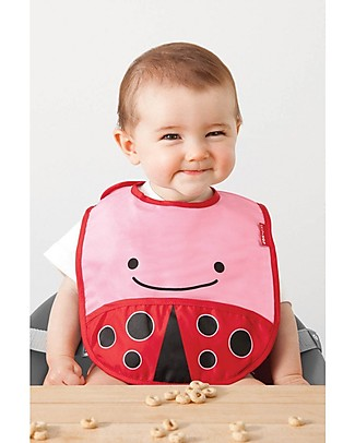 Skip Hop Zoo Tuck-Away Bib with Pocket, Ladybug - Water-resistant, easy to store when dirty! Waterproof Bibs