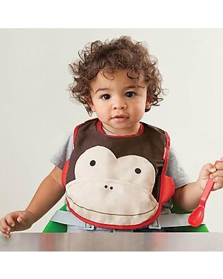 Skip Hop Zoo Tuck-Away Bib with Pocket, Monkey - Water-resistant, easy to store when dirty! Waterproof Bibs
