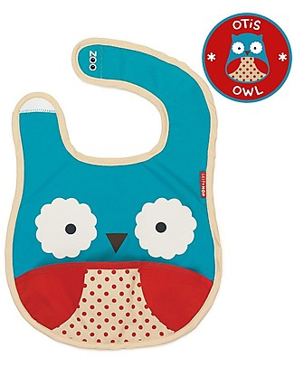 Skip Hop Zoo Tuck-Away Bib with Pocket, Owl - Water-resistant, easy to store when dirty! Waterproof Bibs