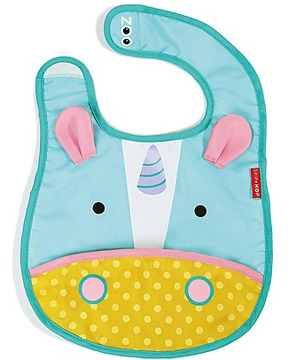 Skip Hop Zoo Tuck-Away Bib with Pocket, Unicorn - Water-resistant, easy to store when dirty! Waterproof Bibs