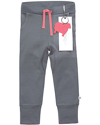 Smalls 24/7 Trouser for Girl in 100% Merino Wool, Grey Trousers
