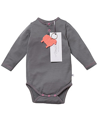 Smalls Aroha, Long Sleeved Baby Bodysuit in 100% Merino Wool, Grey Long Sleeves Bodies