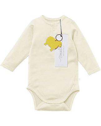 Smalls Aroha, Long Sleeved Baby Bodysuit in 100% Merino Wool, Natural Long Sleeves Bodies