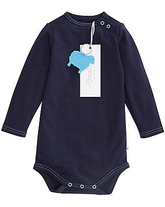 Smalls Aroha, Long Sleeved Baby Bodysuit in 100% Merino Wool, Navy Long Sleeves Bodies