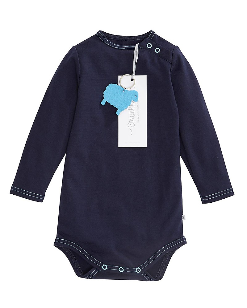 b62d0cd89 Smalls Aroha, Long Sleeved Baby Bodysuit in 100% Merino Wool, Navy Long  Sleeves