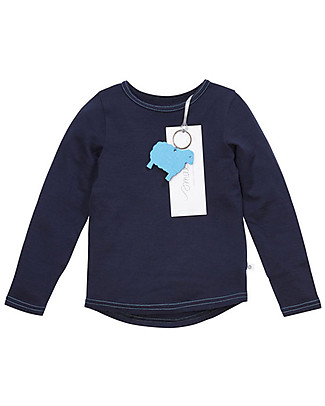 Smalls Long Sleeve Top for Boys in 100% Merino Wool, Navy Long Sleeves Tops
