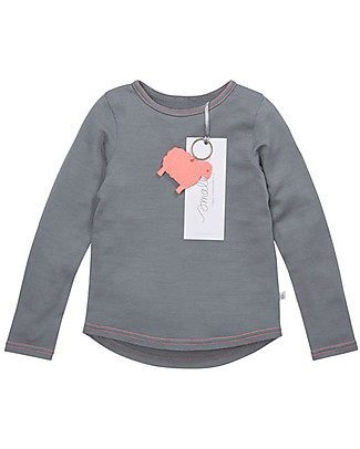 Smalls Long Sleeve Top for Girls in 100% Merino Wool, Grey Long Sleeves Tops