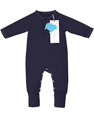 Smalls Long Sleeved Onesie for Boys in 100% Merino Wool, Navy Rompers