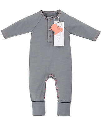 Smalls Long Sleeved Onesie for Girls in 100% Merino Wool, Grey Rompers