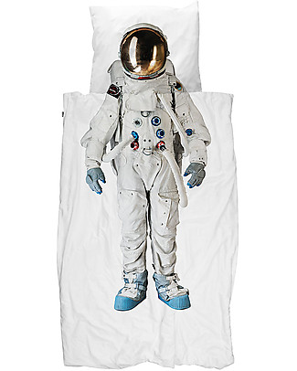 Snurk Bedding Set Duvet Cover and Pillowcase, Astronaut - Single Bed 140 x 200/220 cm - 100% Cotton Blankets