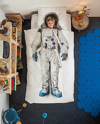 Snurk Bedding Set Duvet Cover and Pillowcase, Astronaut - Single Bed 140 x 200/220 cm - 100% Cotton null
