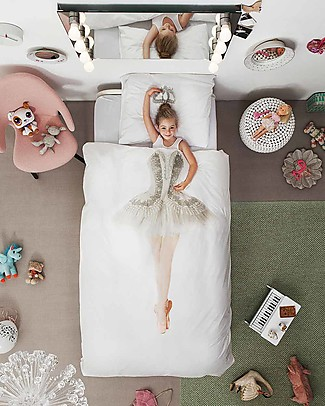 Snurk Bedding Set Duvet Cover and Pillowcase, Ballerina - Single Bed 140 x 200/220 cm - 100% Cotton Blankets