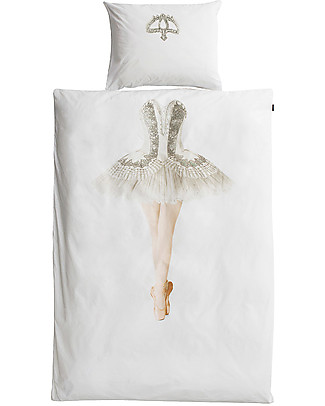 Snurk Bedding Set Duvet Cover and Pillowcase, Ballerina - Single Bed 140 x 200/220 cm - 100% Cotton Duvet Sets