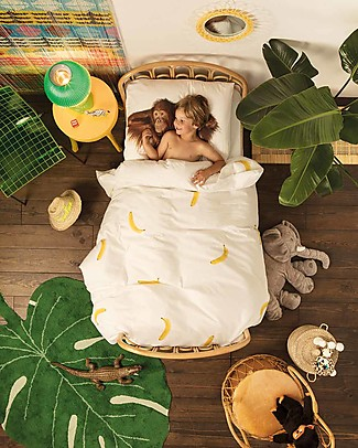 Snurk Bedding Set Duvet Cover and Pillowcase, Banana Monkey - Single Bed 140 x 200/220 cm - 100% Cotton Blankets