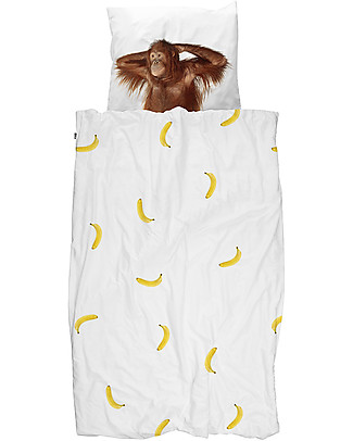 Snurk Bedding Set Duvet Cover and Pillowcase, Banana Monkey - Single Bed 140 x 200/220 cm - 100% Cotton Duvet Sets