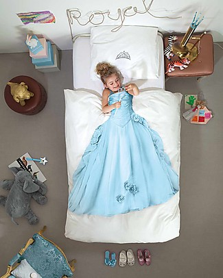 Snurk Bedding Set Duvet Cover and Pillowcase, Blue Princess - Single Bed 140 x 200/220 cm - 100% Cotton Blankets