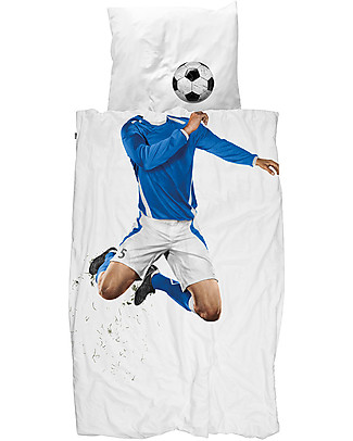 Snurk Bedding Set Duvet Cover and Pillowcase, Blue Soccer - Single Bed 140 x 200/220 cm - 100% Cotton Blankets
