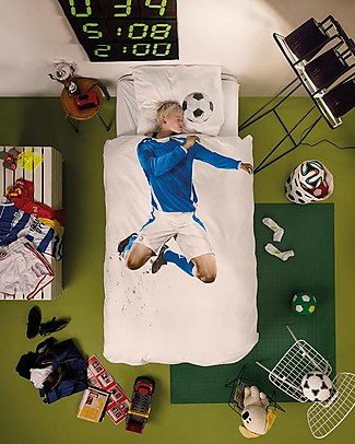 Snurk Bedding Set Duvet Cover and Pillowcase, Blue Soccer - Single Bed 140 x 200/220 cm - 100% Cotton Duvet Sets