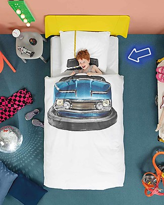 Snurk Bedding Set Duvet Cover and Pillowcase, Bumper Car - Single Bed 140 x 200/220 cm - 100% Cotton Duvet Sets
