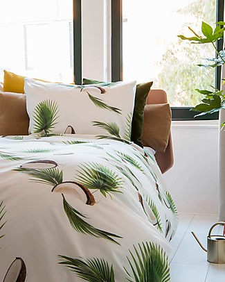 Snurk Bedding Set Duvet Cover and Pillowcase, Coconut - Single Bed 140 x 200/220 cm - 100% Cotton Duvet Sets