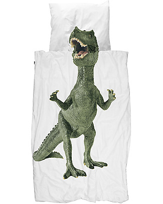 Snurk Bedding Set Duvet Cover and Pillowcase, Dino - Single Bed 140 x 200/220 cm - 100% Cotton Blankets