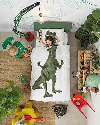 Snurk Bedding Set Duvet Cover and Pillowcase, Dino - Single Bed 140 x 200/220 cm - 100% Cotton Duvet Sets