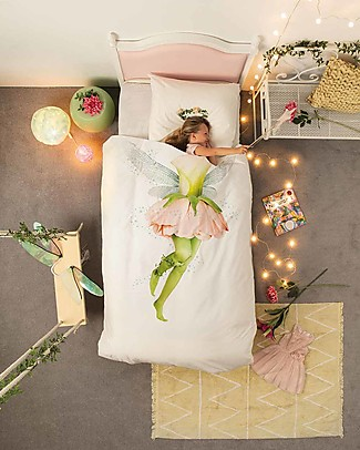Snurk Bedding Set Duvet Cover and Pillowcase, Fairy - Single Bed 140 x 200/220 cm - 100% Cotton Blankets