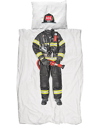 Snurk Bedding Set Duvet Cover and Pillowcase, Firefighter - Single Bed 140 x 200/220 cm - 100% Cotton Duvet Sets