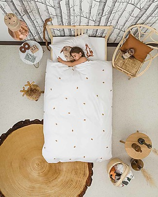 Snurk Bedding Set Duvet Cover and Pillowcase, Furry Friends - Single Bed 140 x 200/220 cm - 100% Cotton Blankets