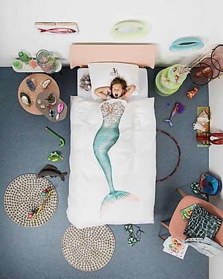 Snurk Bedding Set Duvet Cover and Pillowcase, Mermaid - Single Bed 140 x 200/220 cm - 100% Cotton Blankets