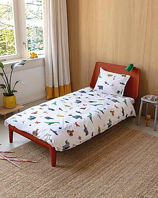 Snurk Bedding Set Duvet Cover and Pillowcase, Paper Zoo - Single Bed 140 x 200/220 cm - 100% Cotton Duvet Sets