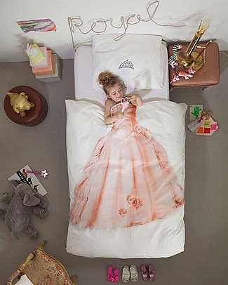 Snurk Bedding Set Duvet Cover and Pillowcase, Pink Princess - Single Bed 140 x 200/220 cm - 100% Cotton Blankets