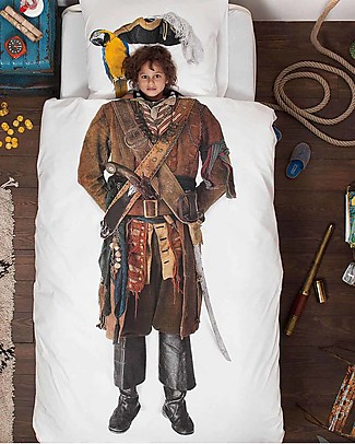 Snurk Bedding Set Duvet Cover and Pillowcase, Pirate - Single Bed 140 x 200/220 cm - 100% Cotton Blankets