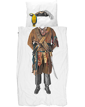 Snurk Bedding Set Duvet Cover and Pillowcase, Pirate - Single Bed 140 x 200/220 cm - 100% Cotton Duvet Sets