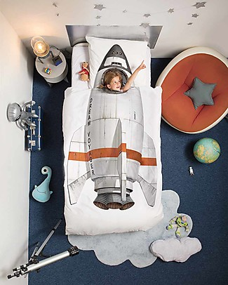 Snurk Bedding Set Duvet Cover and Pillowcase, Rocket - Single Bed 140 x 200/220 cm - 100% Cotton Blankets