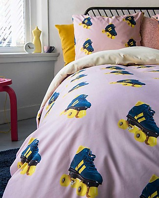 Snurk Bedding Set Duvet Cover and Pillowcase, Rollerskate- Single Bed 140 x 200/220 cm - 100% Cotton Blankets