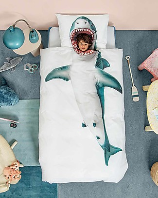 Snurk Bedding Set Duvet Cover and Pillowcase, Shark - Single Bed 140 x 200/220 cm - 100% Cotton Duvet Sets
