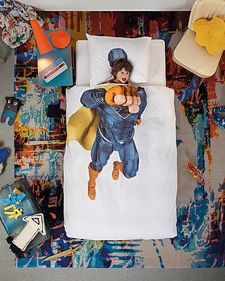 Snurk Bedding Set Duvet Cover and Pillowcase, Superhero - Single Bed 140 x 200/220 cm - 100% Cotton Duvet Sets