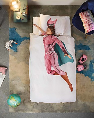 Snurk Bedding Set Duvet Cover and Pillowcase, Superheroine - Single Bed 140 x 200/220 cm - 100% Cotton Blankets