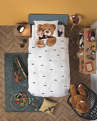 Snurk Bedding Set Duvet Cover and Pillowcase, Teddy - Single Bed 140 x 200/220 cm - 100% Cotton Duvet Sets